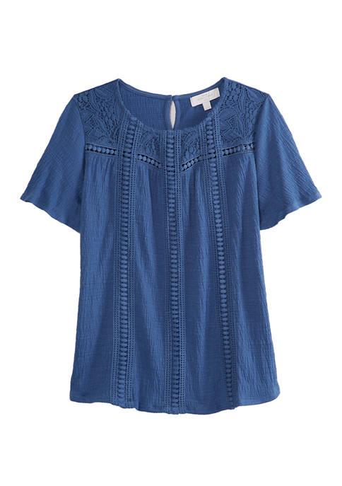 New Directions® Petite Short Sleeve Crochet Top