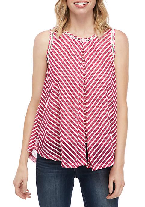 New Directions® Petite Sleeveless Stripe Flyaway Top