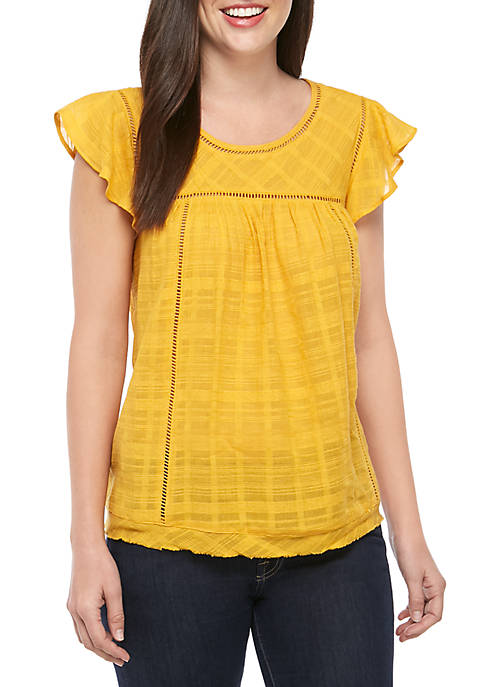 New Directions® Petite Woven Flutter Sleeve Top