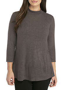 Petite Mock Neck Long Sleeve Hacci Swing Top