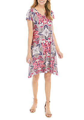 a0131416280 New Directions® Petite Floral Short Sleeve A Line Dress ...