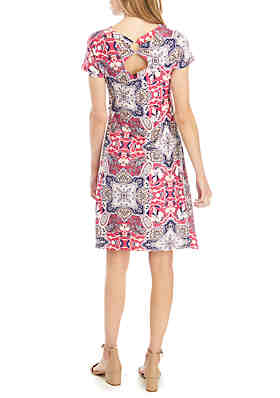 b584058f1a6b ... New Directions® Petite Floral Short Sleeve A Line Dress