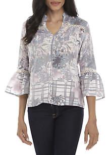 Petite 3/4 Sleeve Linen Floral and Plaid Print Slub