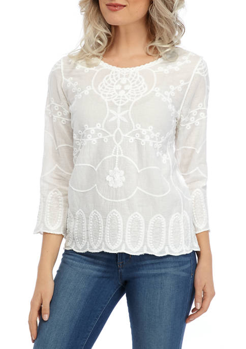Petite Embroidered Popover Top