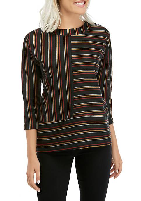 New Directions® Petite Ottoman Stripe Knit Top