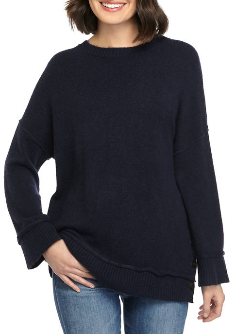 New Directions® Petite Button Side Pullover Sweater