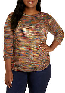 Plus Size 3/4 Sleeve Open Stitch Pullover
