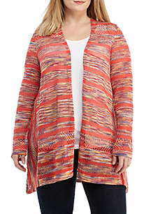 1450ae5b92795 ... New Directions® Plus Size Multicolor Pointelle Cardigan