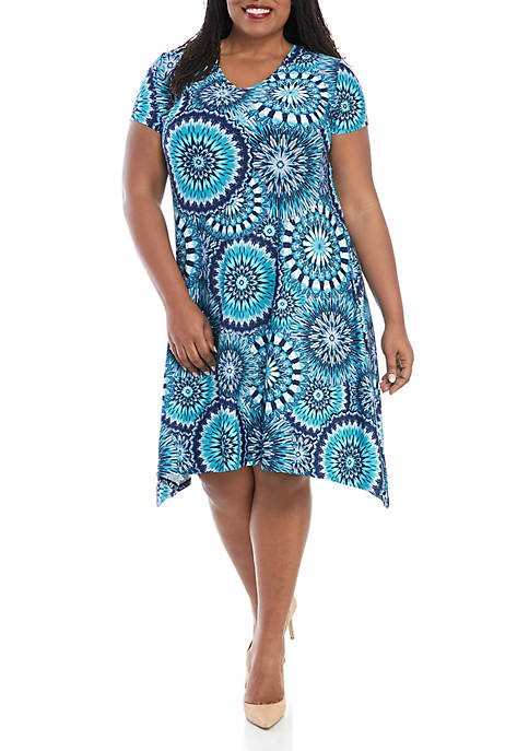 New Directions® Plus Size Open Back Printed Dress