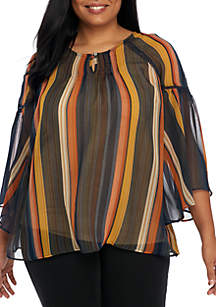 Plus Size Three-Quarter Bell Sleeve Woven Stripe Top with Stitch Detail