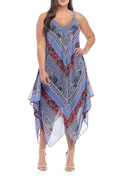 New Directions® Plus Size Sleeveless Patchwork Print Dress