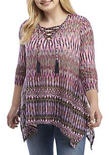 Plus Size Fashion Knit Hacci Top