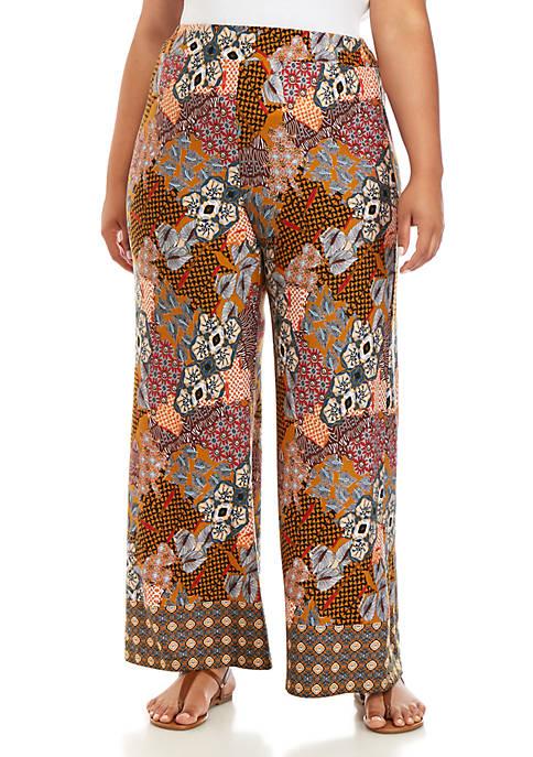 Plus Size Multi Patchwork Soft Pants