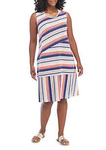 Plus Size Variegated Multi Stripe Dress