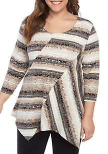 New Directions® Plus Size 3/4 Sleeve Essential Patch Top