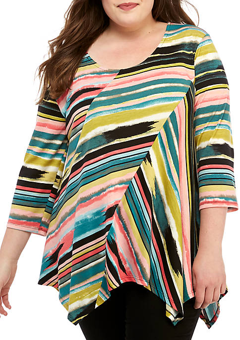 Plus Size 3/4 Sleeve Multi Stripe Assymetric Top