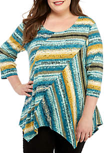 bb46c27b70e6b New Directions® Plus Size Asymmetrical Body Patch Top · New Directions® Plus  Size Multi Stripe Shark Bite Top