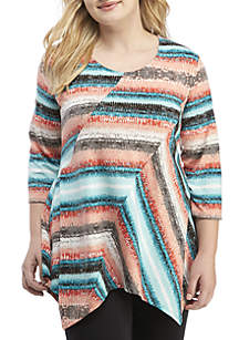 Plus Size 3/4 Sleeve Essential Patch Dress