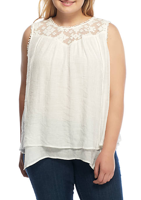 New Directions® Plus Size Double Layered Lace Yolk