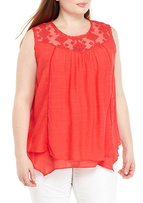 New Directions® Plus Size Woven Sleeveless Tank