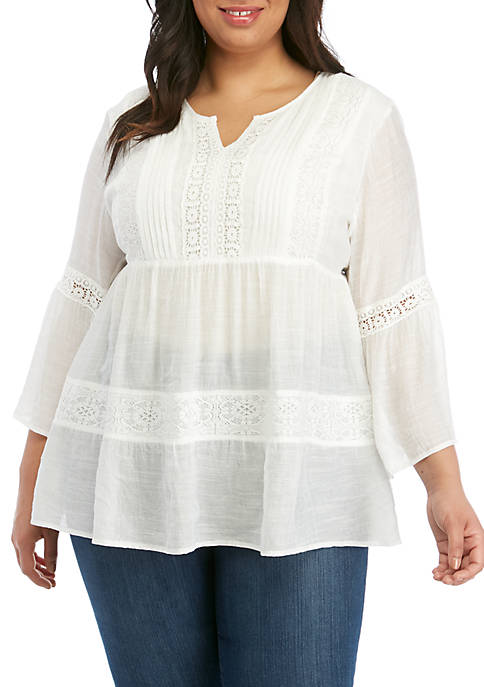 Plus Size 3/4 Sleeve Tiered Linen Peasant Top
