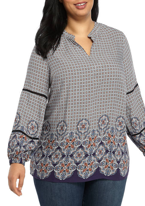 New Directions® Plus Size Printed Peasant Tunic