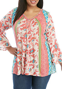 eb5d07e93d936 ... New Directions® Plus Size 3 4 Sleeve Printed Peasant Top with Rope  Neckline