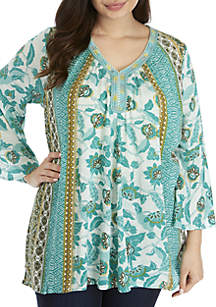 New Directions® Plus Size 3/4 Sleeve Rope Trim Peasant Top