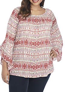 Plus Size 3/4 Sleeve Crepon Aztec Top