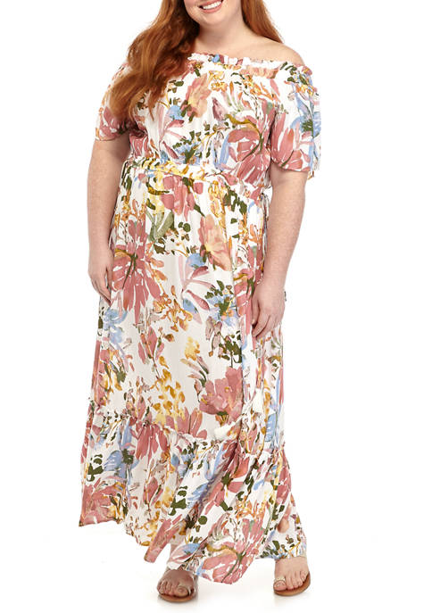 New Directions® Plus Size Off the Shoulder Floral