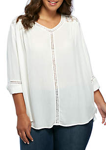 Plus Size Essential Three-Quarter Sleeve Woven Top