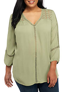 Plus Size Three-Quarter Sleeve Woven Top
