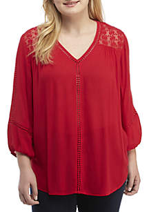 Plus Size Woven 3/4 Sleeve Pullover