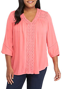 New Directions® Plus Size Essential Woven Peasant Top