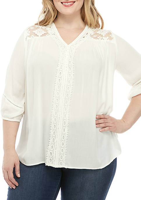 New Directions® Plus Size 3/4 Sleeve Essential Woven