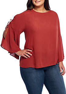 Plus Size 3/4 Sleeve Lace-Up Bell Sleeve Woven Blouse