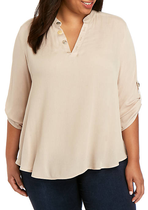 New Directions® Plus Size 3/4 Sleeve Button Tunic