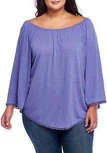 Plus Size Long Sleeve Crochet Peasant Blouse