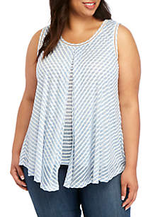 New Directions® Plus Size Knit Sleeveless Stripe Flyaway Top