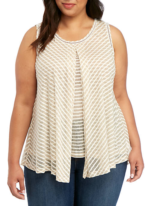 Plus Size Sleeveless Striped Flyaway Essential Top
