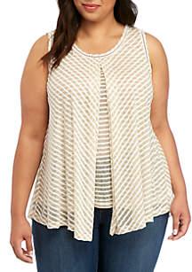 Plus Size Sleeveless Striped Flyaway Essential Top