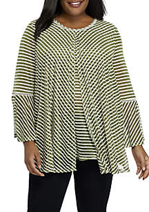 Plus Size Three-Quarter Sleeve Striped Flyaway Top