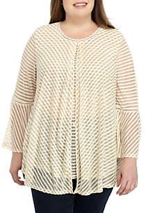 Plus Size 3/4 Sleeve Stripe Flyaway Top