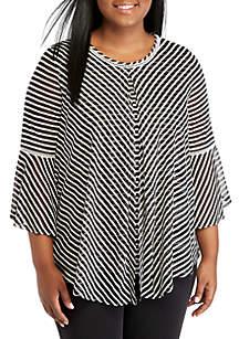 Plus Size 3/4 Sleeve Striped Flyaway Top