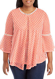 New Directions® Plus Size Striped Flyaway Top
