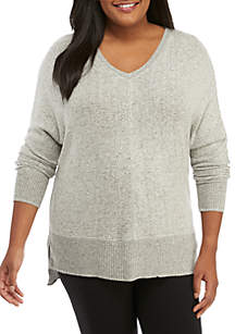 Plus Size Brushed Hacci V-Neck Top