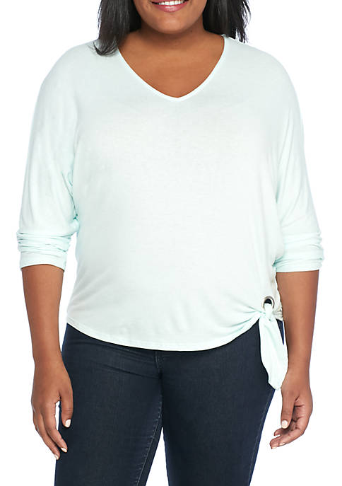 New Directions® Plus Size 3/4 Sleeve Side Tie