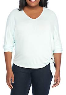 Plus Size 3/4 Sleeve Side Tie Knit Top