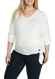 Three-Quarter Sleeve Side Tie Top
