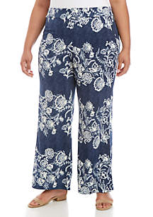 New Directions® Plus Size Puff Palazzo Pants